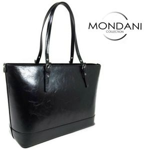 NWT Black Vegan Leather Tote Unlined